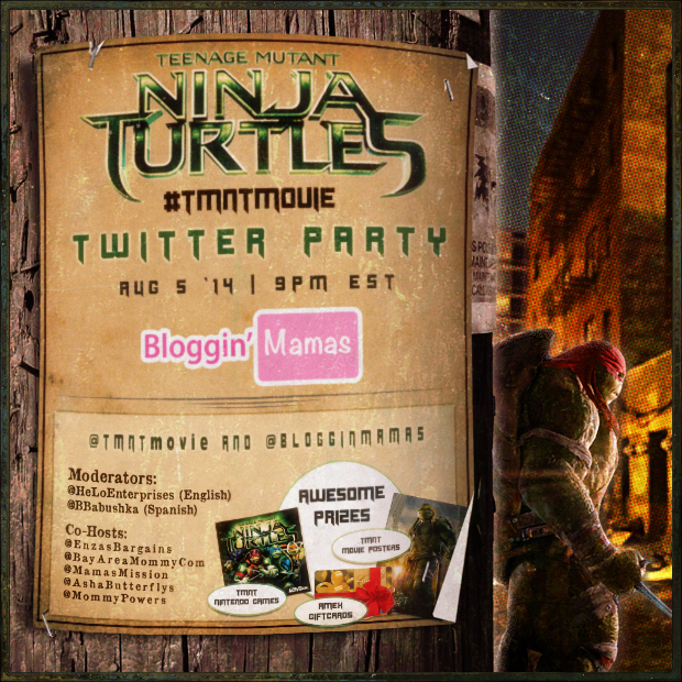 #TMNTmovie Twitter Party 8/5/14 at 9pm EST. Party with the Teenage Mutant Ninja Turtles and #BlogginMamas