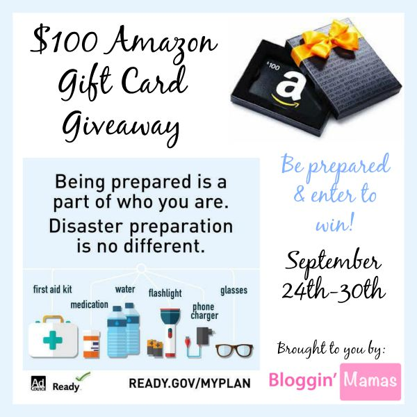 Be Prepared $100 Amazon Giftcard Giveaway- US 18+ - Ends 9-30-15