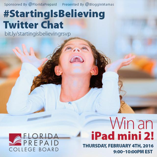 #StartingIsBelieving Chat 2-4-16 at 9p ET Win an iPad Mini 2 bit.ly/startingisbelievingrsvp