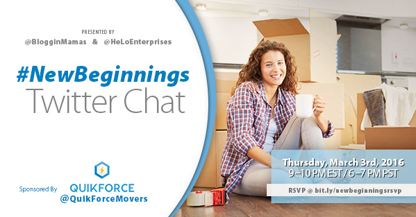 New Beginnings Twitter Chat 3-3-16 at 9p ET rsvp: bit.ly/newbeginningsrsvp