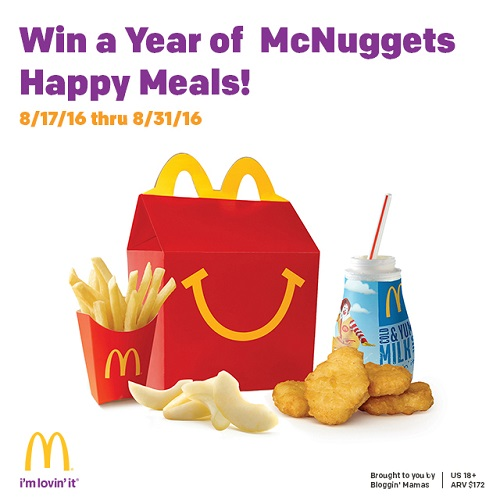 Win a McDonald's McNugget Happy Meal every week for a Year! 5 Winners- Ends 8-31-16.