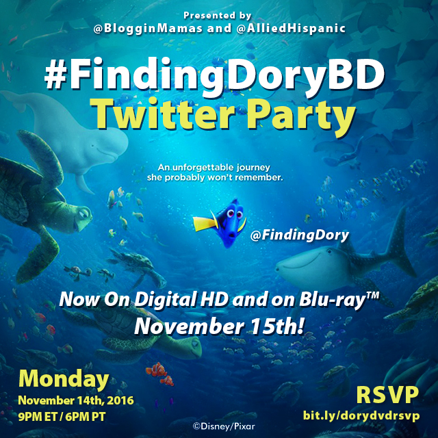 Finding Dory DVD & Blu-ray twitter party 11-14-16 at 9p ET.